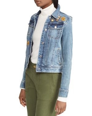 LAUREN RALPH LAUREN EMBELLISHED DENIM JACKET