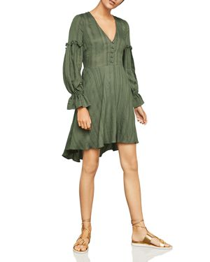 BCBG MAX AZRIA Long-Sleeve Ruffle High-Low Peasant Dress in Olive