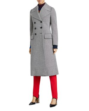Herringbone Wool-Blend Tweed Coat, Black/White Pattern