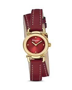Salvatore Ferragamo - Gancino Casual Red Leather Watch, 26mm