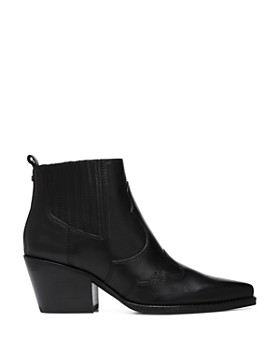 Sam Edelman - Women's Winona Pointed-Toe Mid-Heel Leather Booties