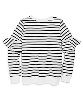 AQUA - Girls' Striped Sweater with Ruffled Sleeves, Big Kid - 100% Exclusive