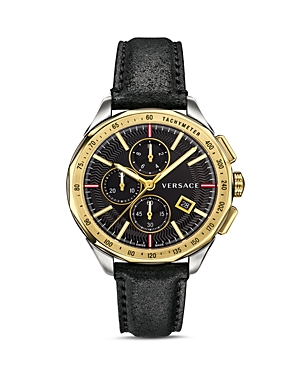 Versace Collection Glaze Black Leather Watch, 44mm