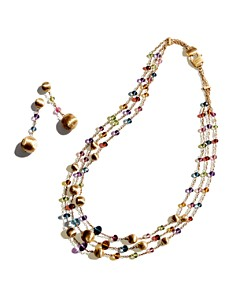 Marco Bicego - 18K Yellow Gold Africa Color Multi Gemstone Necklace & Earrings - 100% Exclusive