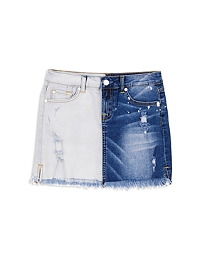 7 For All Mankind Girls' Two-Tone Distressed Mini Skirt - Big Kid