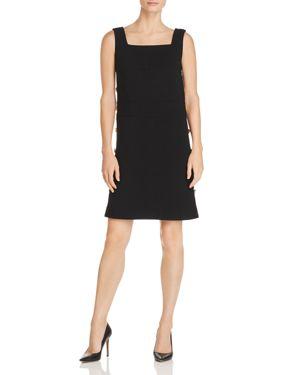 Sleeveless Side-Button Shift Dress in Black