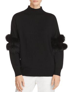 Elsa Fur-Trimmed Mock-Neck Sweater in Black