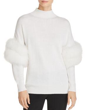 Elsa Fur-Trimmed Mock-Neck Sweater in Ivory