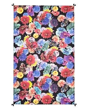 Larioseta - Tassel Floral Print Silk Scarf