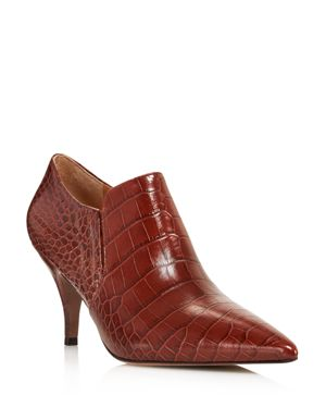 Women'S Georgina Pointed Toe Leather High-Heel Booties, Perfect Brown