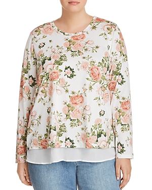 B Collection by Bobeau Curvy Floral Overlay Top