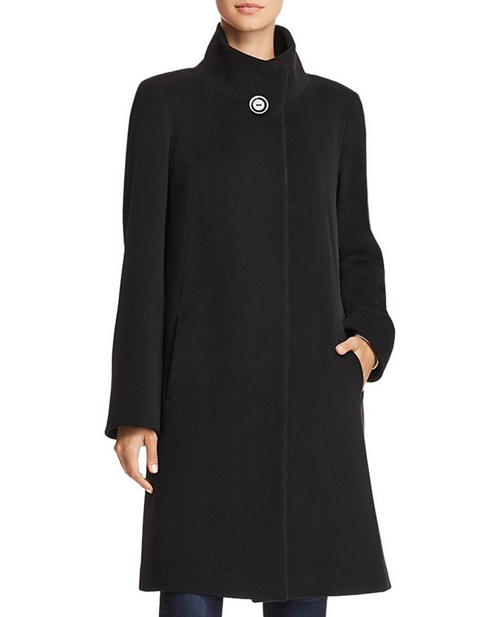 Cinzia Rocca Icons Wool & Cashmere Stand-collar Coat In Black
