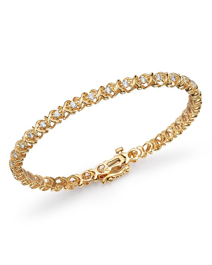 Bloomingdale's - Diamond XOXO Eternity Bracelet in 14K Yellow Gold, 1.0 ct. t.w. - 100% Exclusive