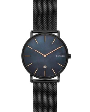 SKAGEN MEN'S HAGEN SLIM BLACK STAINLESS STEEL MESH BRACELET WATCH 40MM