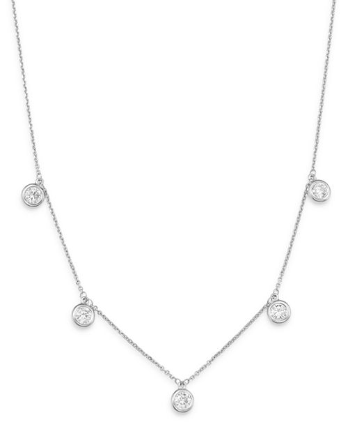 Bloomingdale's - Diamond Bezel Set Dangle Station Necklace in 14K White Gold, 1.0 ct. t.w. - 100% Exclusive