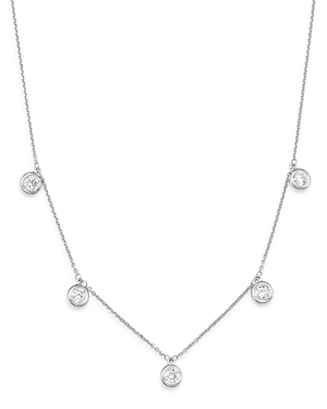 Bloomingdale's Diamond Bezel Set Droplet Station Necklace in 14K White Gold, 1.0 ct. t.w. - 100% Exc