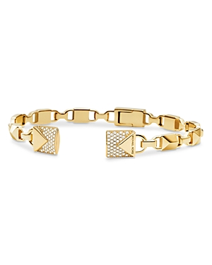 Michael Kors Mercer Link Semi-Precious Sterling Silver Center Back Hinged Cuff in 14K Gold-Plated St