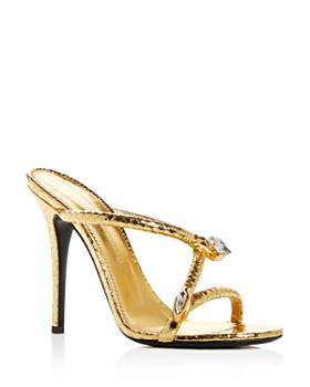 Giuseppe Zanotti - omen's Snake Charmer Snake-Embossed Leather High-Heel Slide Sandals