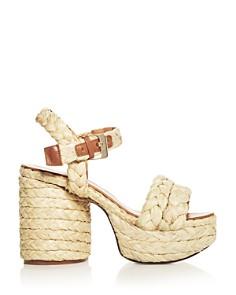Clergerie - Women's Vittoria Raffia High-Heel Platform Sandals