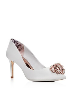 Ted Baker - Women's Dahrlin Embellished Satin Pointed Toe High-Heel Pumps