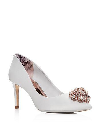 2c43d36b60084d Ted Baker - Women's Dahrlin Embellished Satin Pointed Toe High-Heel Pumps