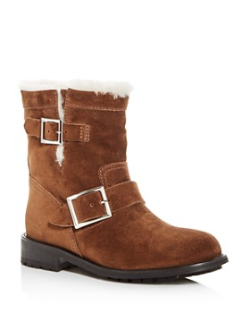 Jimmy Choo - Women's Youth Suede & Shearling Moto Boots