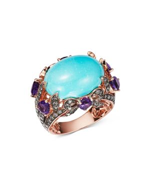 Bloomingdale's Turquoise, Amethyst & Brown Diamond Statement Ring in 14K Rose Gold - 100% Exclusive