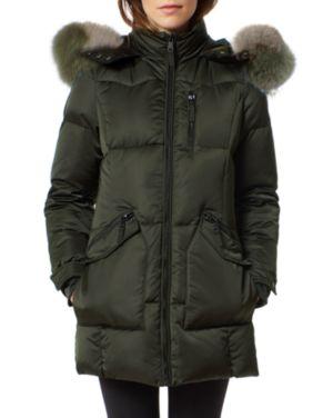 ONE MADISON Fur Trim Puffer Coat in Olive