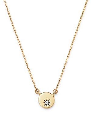 Adina Reyter 14K Yellow Gold Diamond Tiny Circle Stamp Pendant Necklace, 16