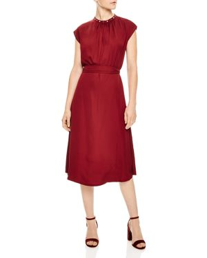 Sandro Conique Embellished-Collar Dress