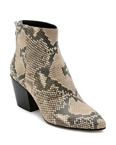 Dolce Vita - Women's Coltyn Almond Toe Snakeskin-Embossed Leather Booties