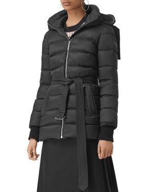 Limehouse Mid-Length Puffer Coat With Detachable Hood in Black