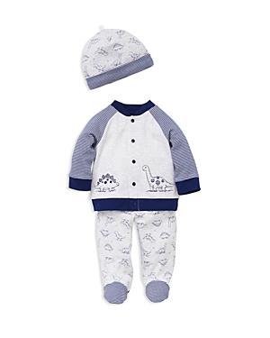 Little Me Boys Dinosaur Cardigan Footie Pants  Hat Set  Baby