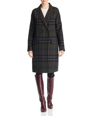 Bernardo Double-Breasted Plaid Coat