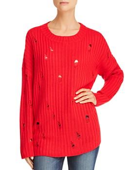 AQUA - Distressed Rib-Knit Sweater - 100% Exclusive