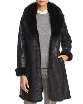 Maximilian Furs - Rabbit Fur Coat with Fox Fur Collar