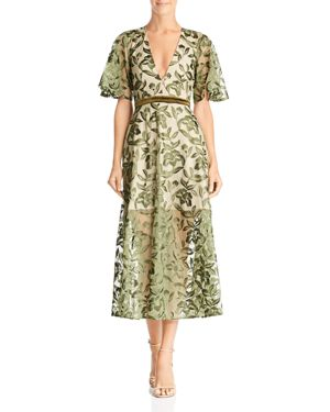 SAU LEE Lucia Embroidered Dress in Olive