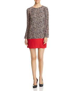 PAULE KA - Leopard-Print Color-Blocked Dress
