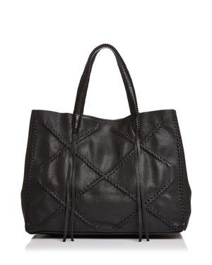 CALLISTA Iconic Cross Medium Leather Tote in Sable Noir Black/Gunmetal