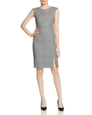 Cap Sleeve Glen Check Sheath Dress