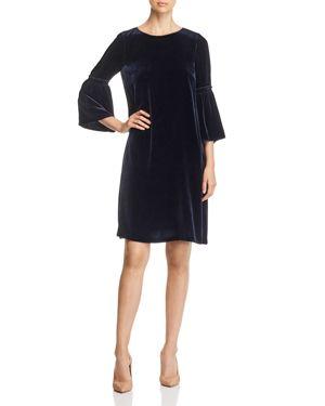 LAFAYETTE 148 ROSLIN VELVET BELL-SLEEVE DRESS