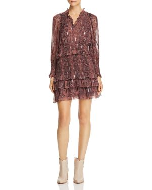 Rebecca Taylor Snake-Print Ruffle-Trim Dress