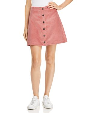 Prewitt Cotton-Corduroy Mini Skirt, Cameo