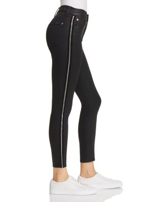 Side Zip High Waist Skinny Jeans In B(Air) Black With Velvet by 7 For All Mankind
