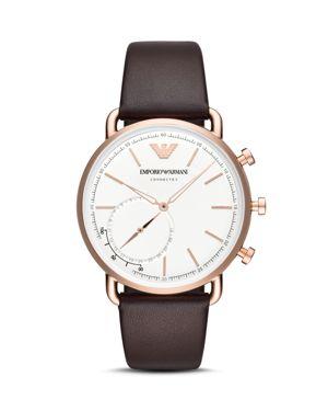 Men'S Brown Leather Strap Hybrid Smart Watch 43Mm