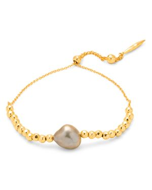 Vienna Cultured Freshwater Pearl Slider Bracelet, Gold