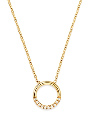 Zoe Chicco 14K Yellow Gold Small Thick Circle Pave Diamond Adjustable Necklace, 16