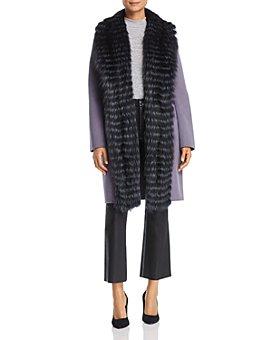 Maximilian Furs - Fox Fur Tuxedo Trim Wool Coat - 100% Exclusive