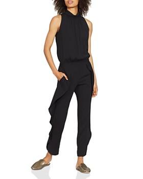HALSTON HERITAGE - Ruffled Sleeveless Crepe Jumpsuit