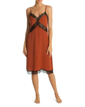 MIDNIGHT BAKERY Hammered Satin Midi Gown in Rust